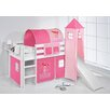 Just Kids Jelle Princess High Sleeper Bunk Bed with Curtain, Tower and Slide