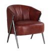 Hazelwood Home Aviator Curved Ribbed Back Leather Armchair