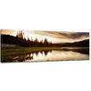 Bilderdepot24 Gerahmtes Leinwandbild Sonnenuntergang am See, Fotodruck
