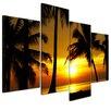 Bilderdepot24 Tropical Sunset 4 Piece Photographic Print on Canvas Set