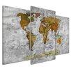 Bilderdepot24 Retro World Map II 3-Piece Graphic Art on Canvas Set