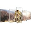 Bilderdepot24 Leopard 5-Piece Photographic Print on Canvas Set