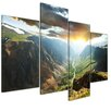 Bilderdepot24 Mountains at Sunset 4-Piece Photographic Print on Canvas Set