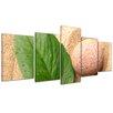 Bilderdepot24 Zen Stone with Leaf 5-Piece Photographic Print on Canvas Set