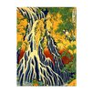 Bilderdepot24 'Pilgrims at Kirifuri Waterfall' by Katsushika Hokusai Framed Oil Painting Print on Canvas