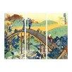 Bilderdepot24 'Ariwara no Narihira Ason' by Katsushika Hokusai 3 Piece Painting Print Set on Canvas