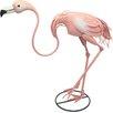 House Additions Metal Bending Pink Flamingo Garden Statue