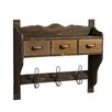 ChâteauChic Wall Mounted Coat Rack with 3 Hangers and 3 Drawers