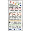 Zoomie Kids Callie Rainbow Playroom Rules Wall Plaque