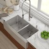"""Kraus Stainless Steel 35.88""""x 20.75"""" Double Basin Farmhouse Kitchen Sink with NoiseDefend™ Soundproofing Rectangular  Bathroom Sink"""
