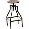 French Industrial Farmhouse Adjustable Height Swivel Counter Bar Stool