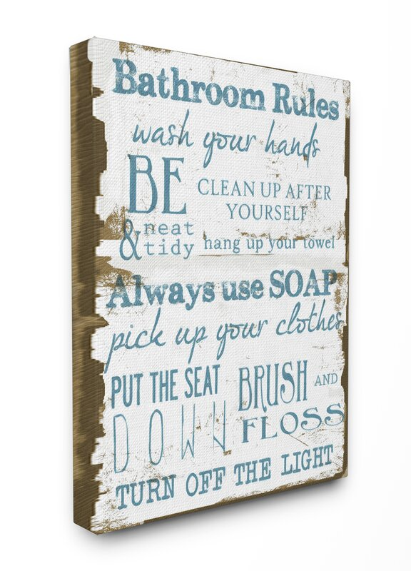 Stupell Industries Classic Bathroom Rules Stretched Textual Art