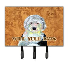 Old English Sheepdog Wipe Your Paws Leash Holder and Key Hook by Caroline's Treasures