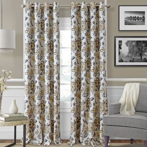 Sorrento Nature / Floral Blackout Thermal Grommet Single Curtain Panel  Blue Floral Curtains