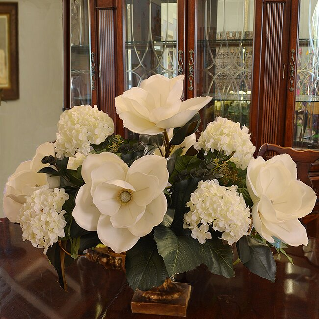 Magnolia And Hydrangea Large Silk Flower Arrangement
