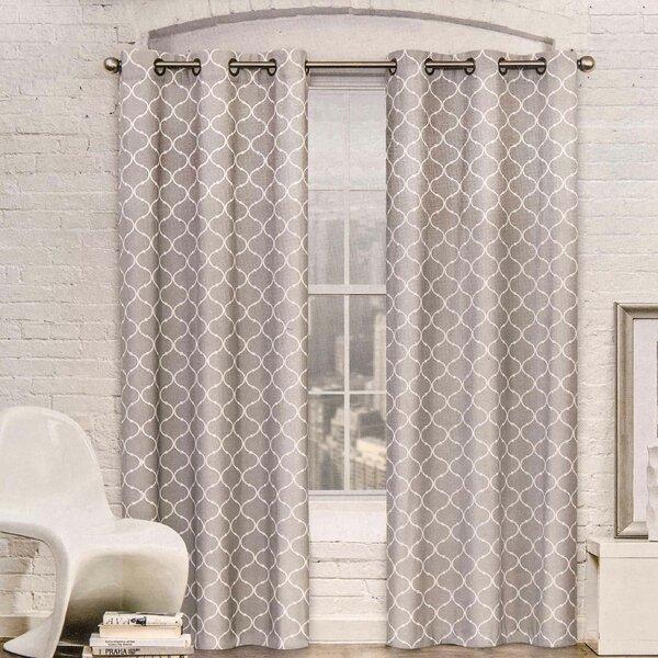 Red Barrel Studio Mortimer Geometric Semi Sheer Grommet Curtain Panels U0026  Reviews | Wayfair