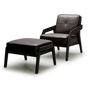 Coalpit Heath Leather Modern Armchair and Ottoman by Orren Ellis