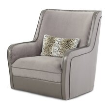 Hollywood Swank Swivel Upholstered Armchair by Michael Amini (AICO)