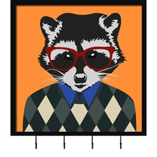 Hipster Racoon Wall Mounted Coat Rack by PTM