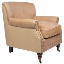 Antique Linen and Leather Occasional Armchair by Joseph Allen