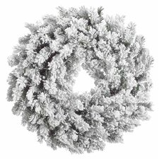 "30"" Artificial Blackmore Snow Pine Heavily Flocked Christmas Wreath"