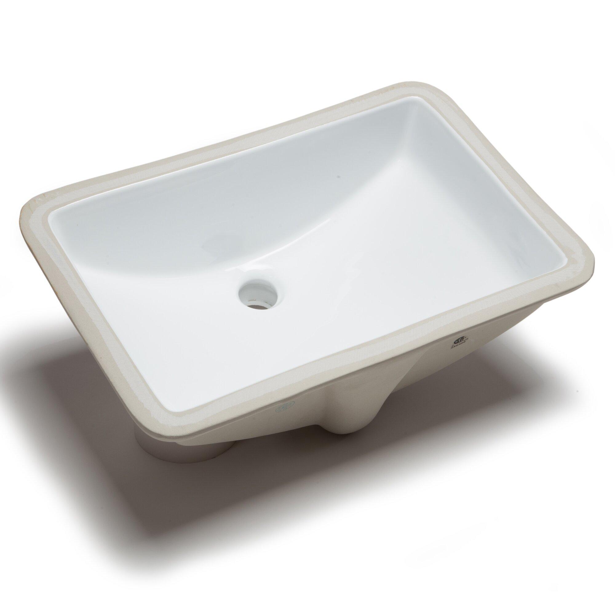 Hahn ceramic bowl rectangular undermount bathroom sink with overflow reviews wayfair for Rectangle undermount bathroom sink