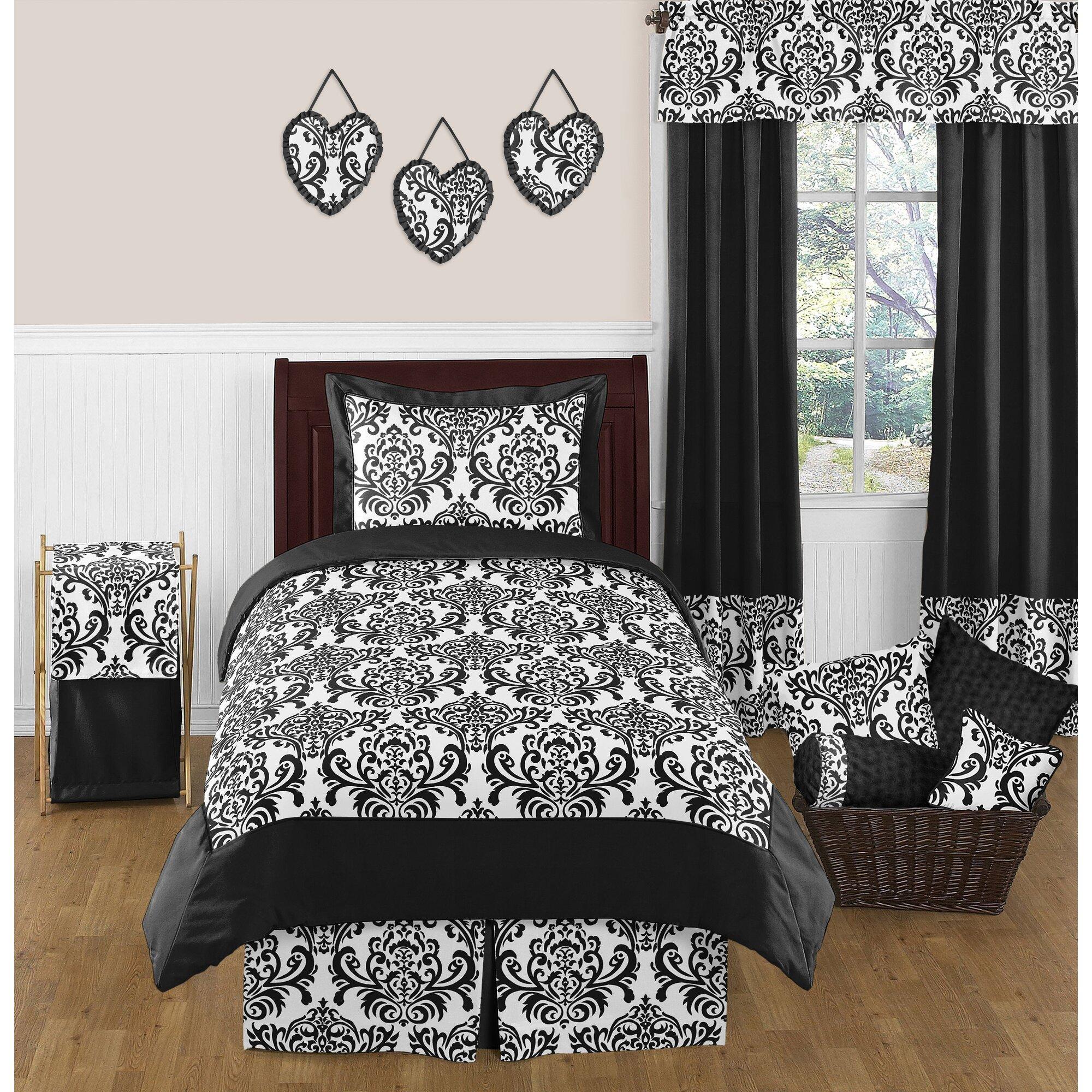Jojo luxury black white damask girl kids teen full queen sized bedding - Isabella 4 Piece Twin Comforter Set