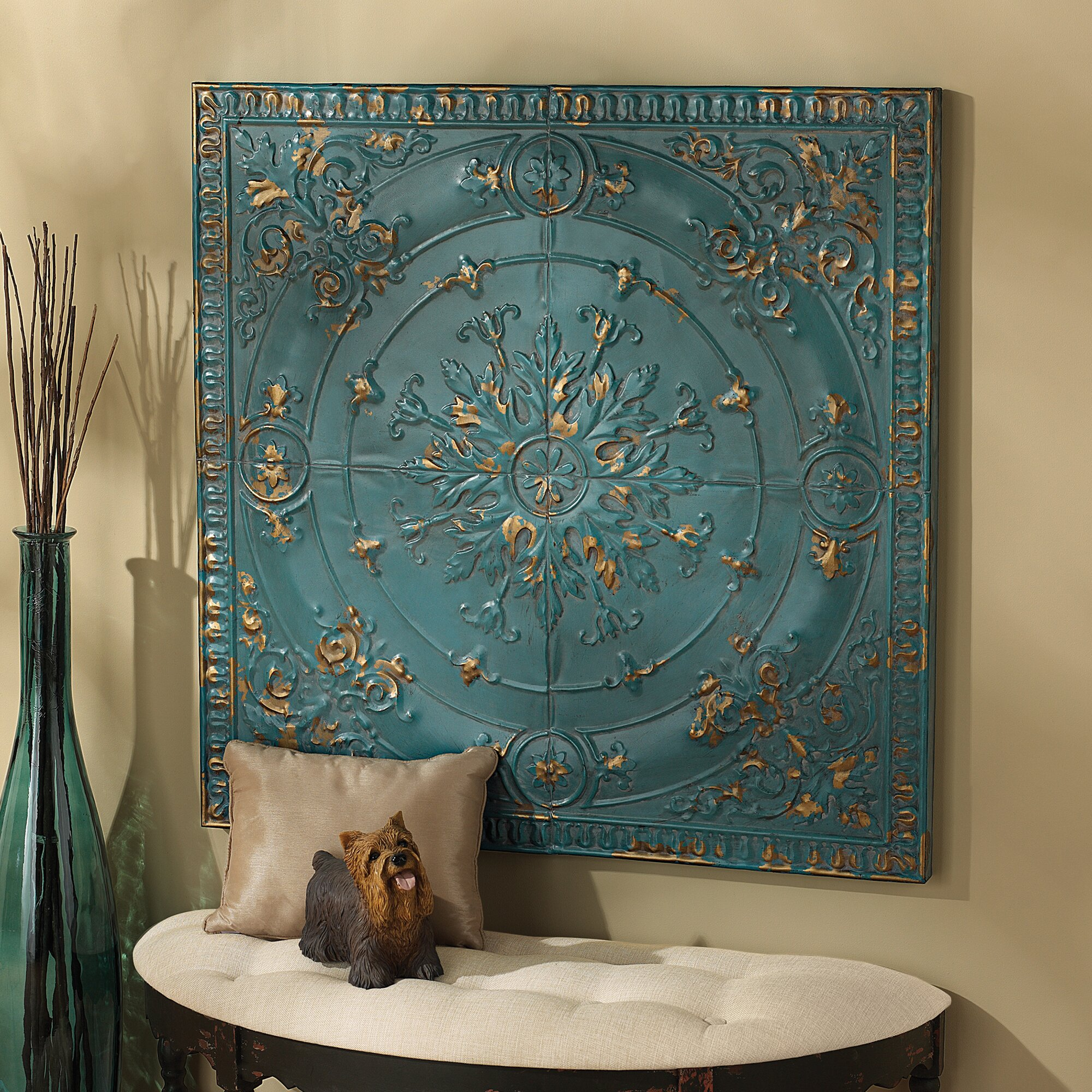 Design toscano viennese pressed metal ceiling tile wall for Wall art and decor
