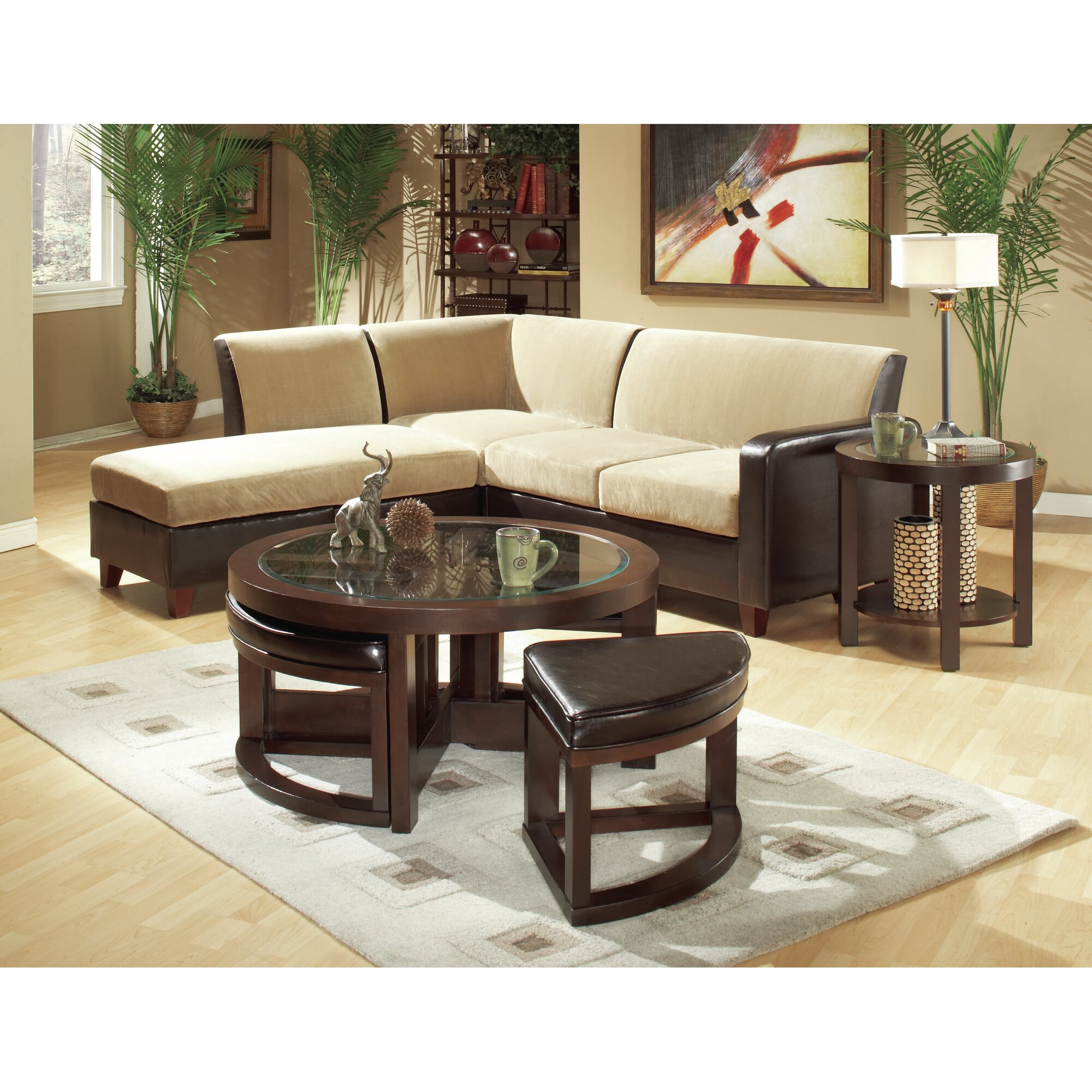 Woodhaven Hill 3219 Series Coffee Table With 4 Ottomans Reviews Wayfair