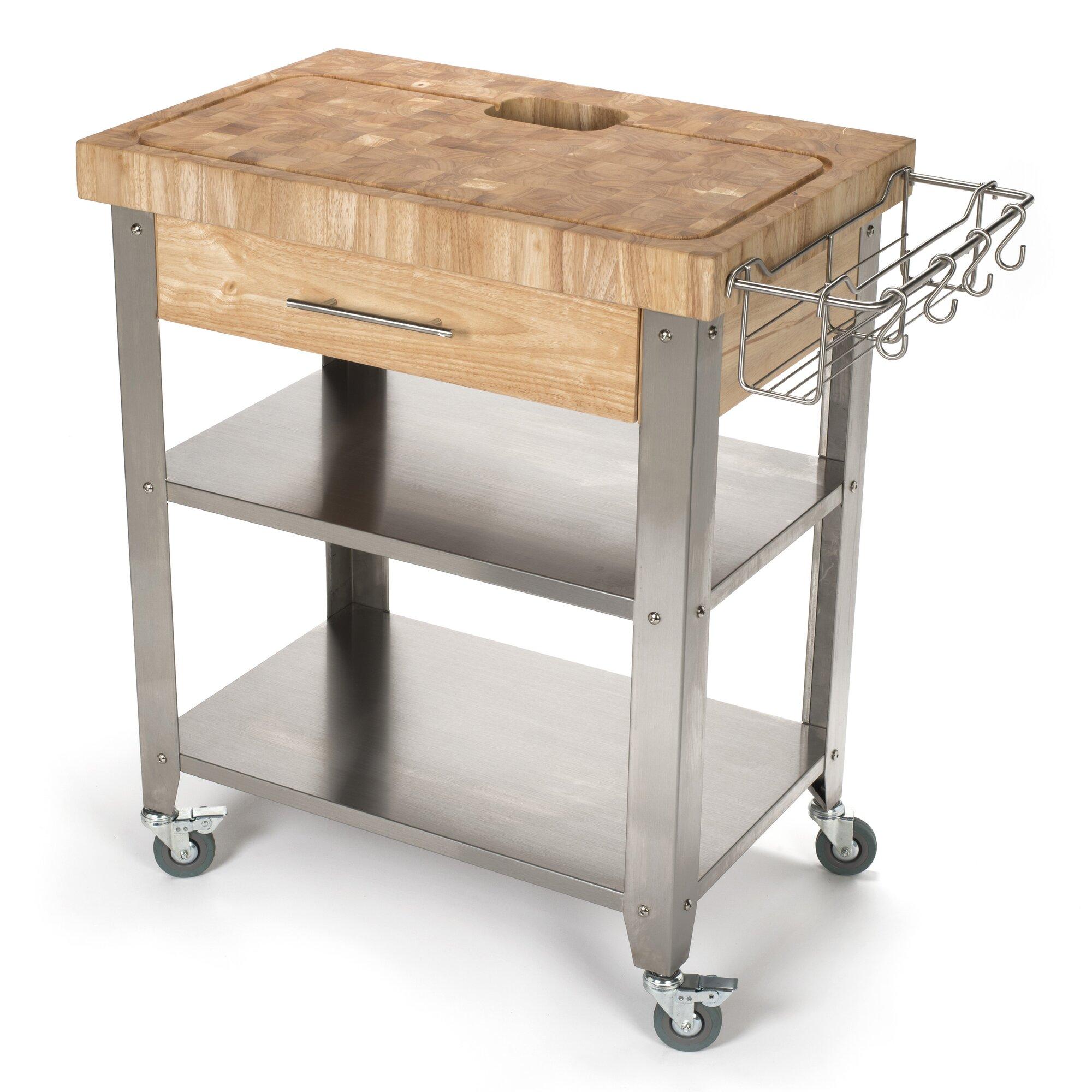 Chris Chris Pro Stadium Kitchen Cart With Butcher Block Top Reviews Wayfair