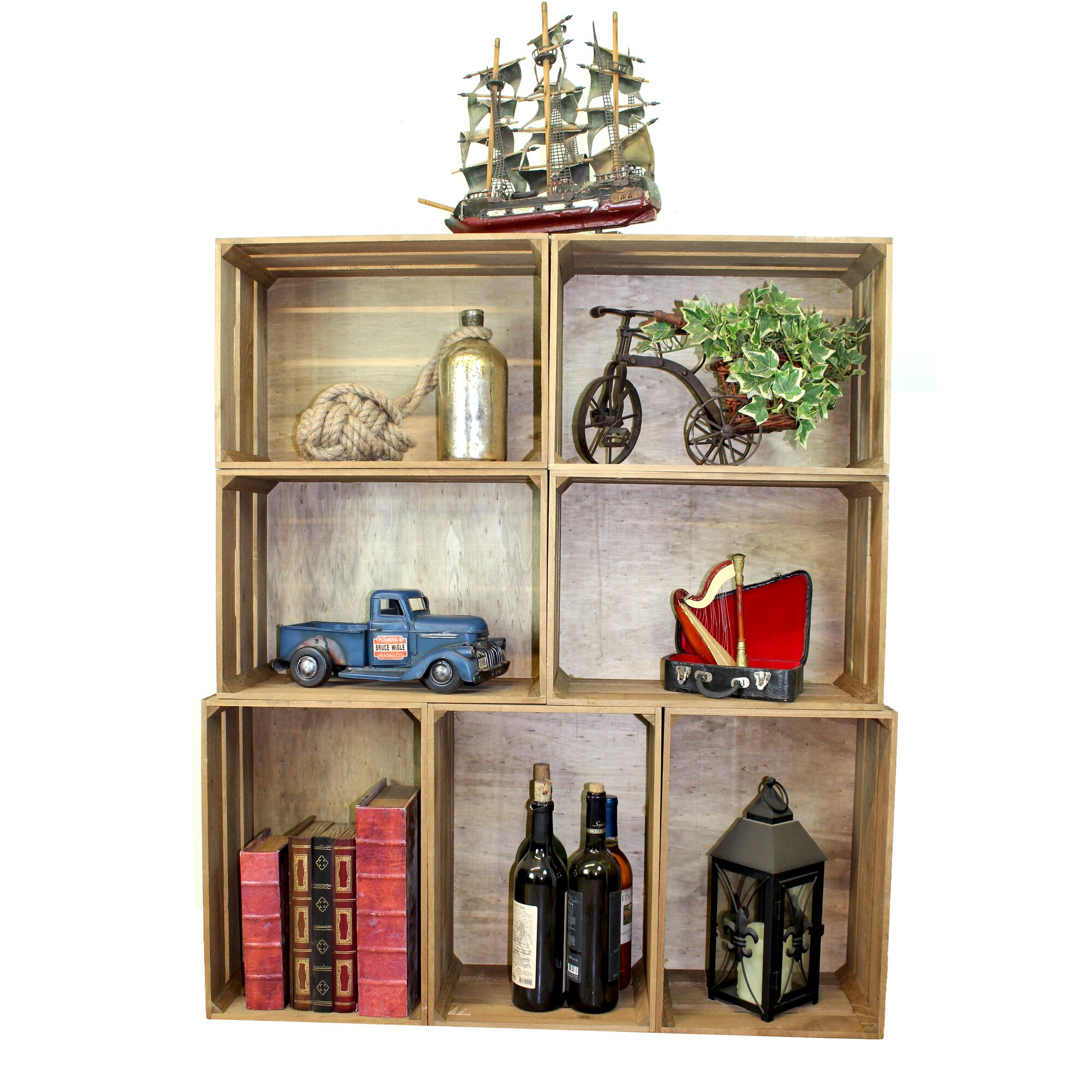 stackable antique style wooden crate decorative shelving - Decorative Shelving