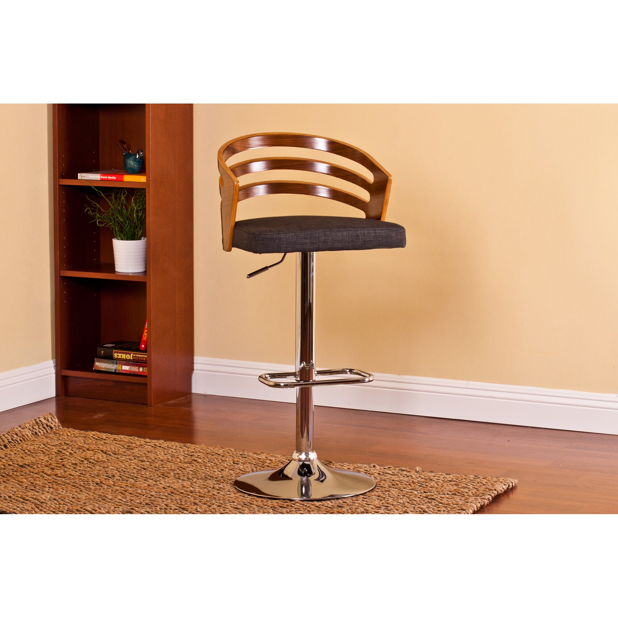 Ac Pacific Modern Wood Adjustable Height Swivel Bar Stool