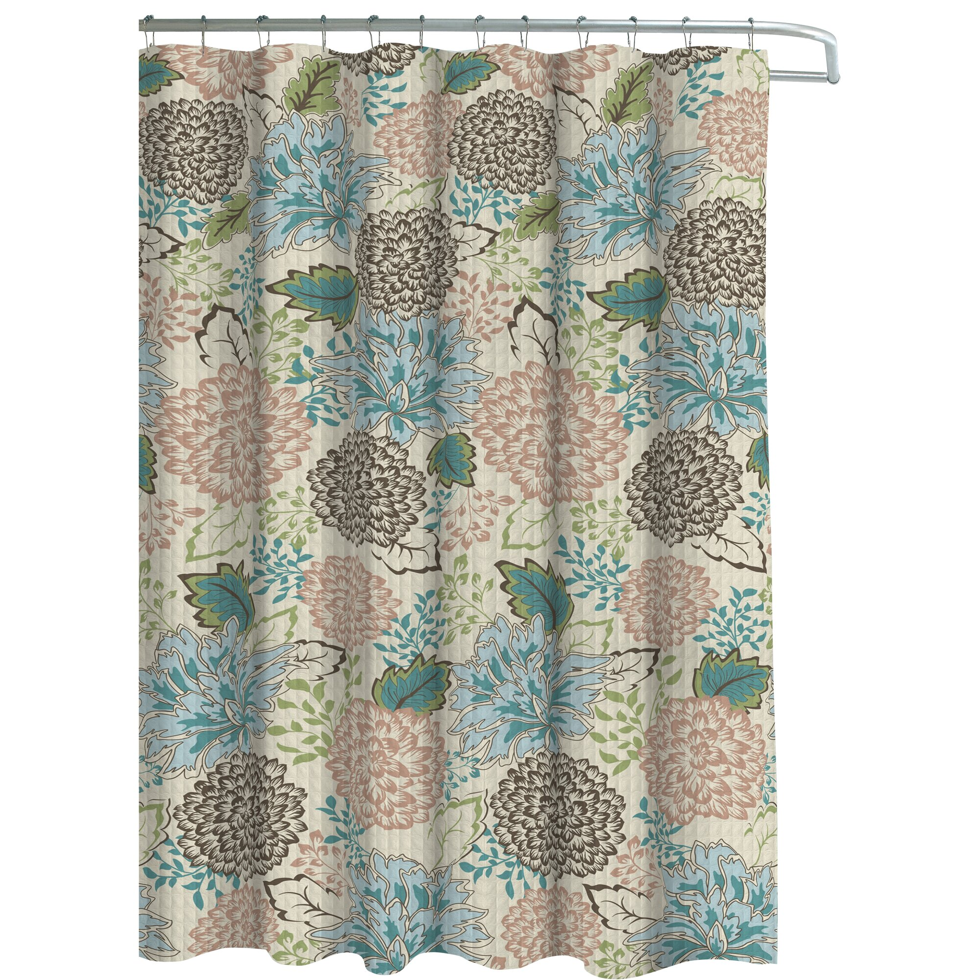 Bath Studio Oxford Fabric Weave Textured Floral Shower Curtain Set - Brown and turquoise shower curtain