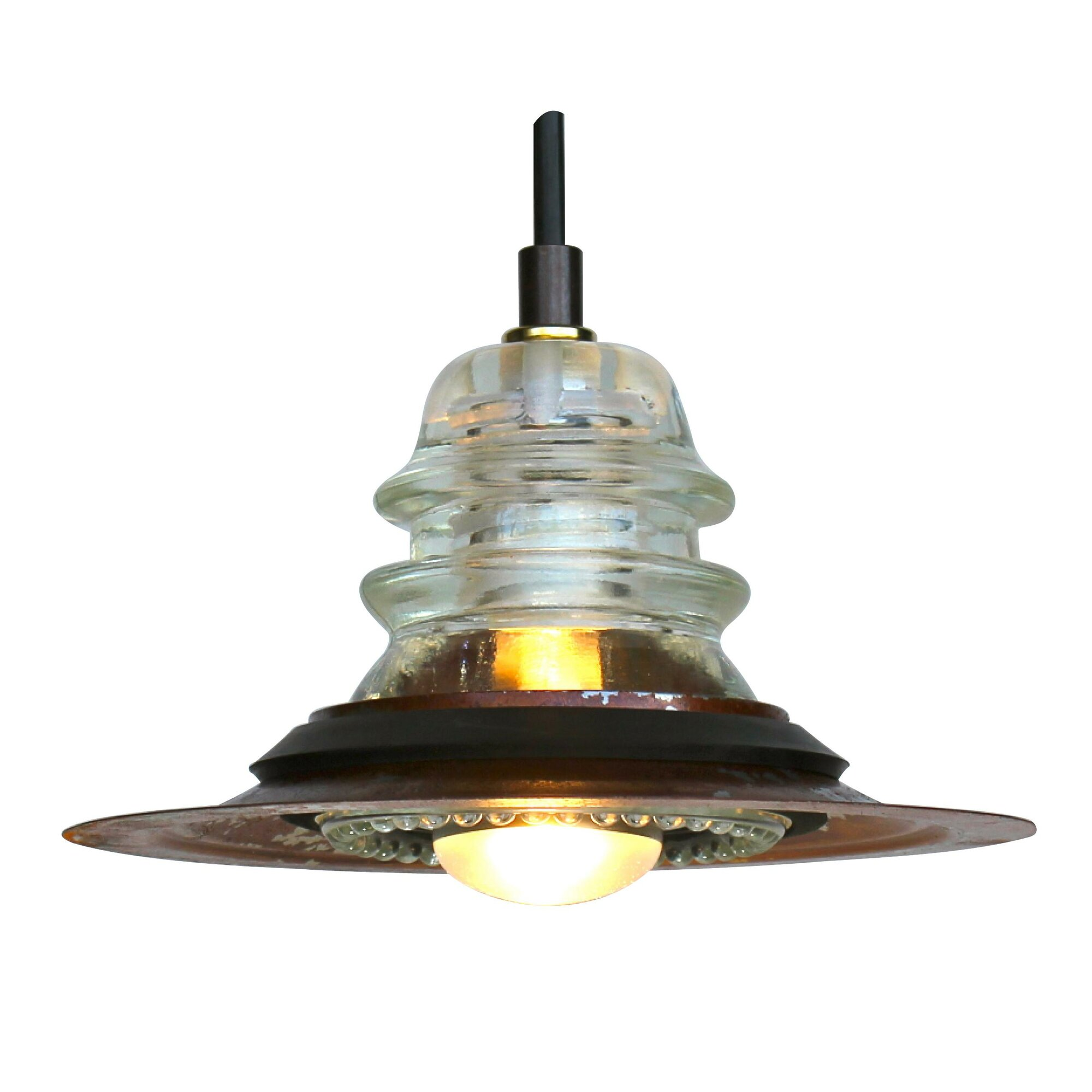 Railroadware insulator light pendant with 7 metal hood for Insulator pendant light