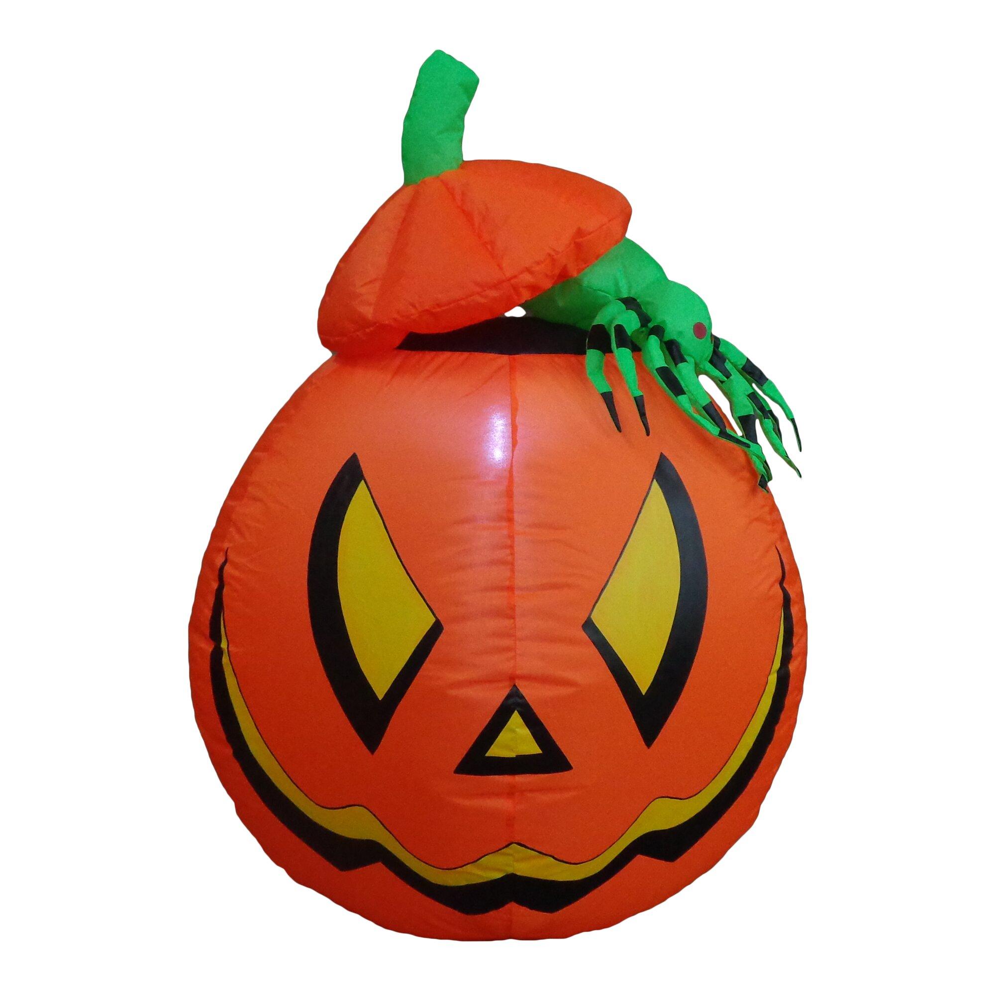Outdoor inflatable halloween decorations - Bzb Goods Lighted Halloween Inflatable Pumpkin With Spider Indoor