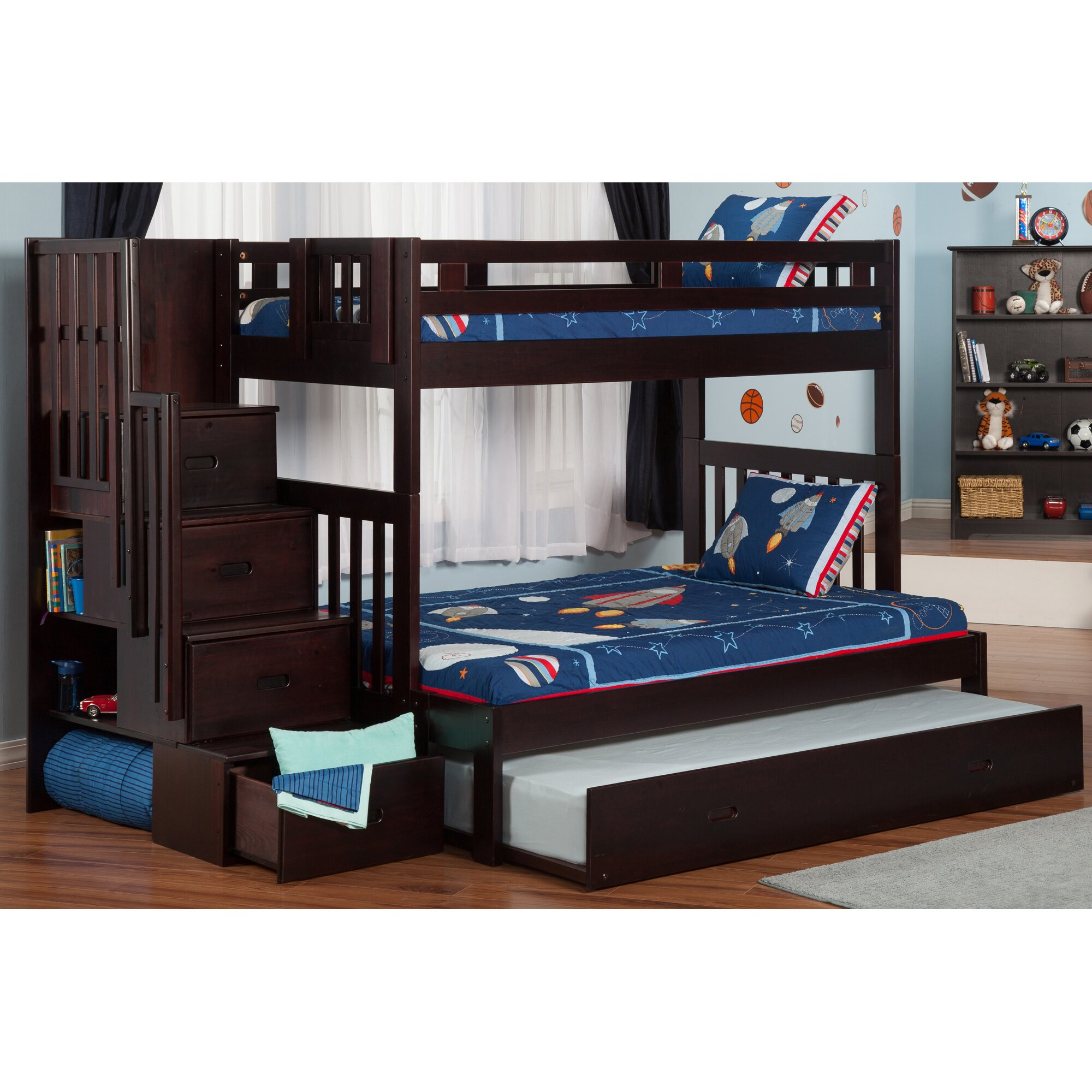 Viv + Rae Edwardo Twin over Full Bunk Bed with Staircase ...
