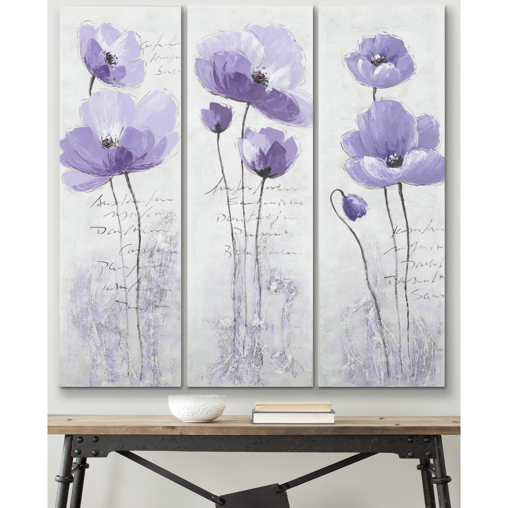 Charlton home poppy 3 piece painting print on canvas for Kitchen cabinets lowes with three piece canvas wall art