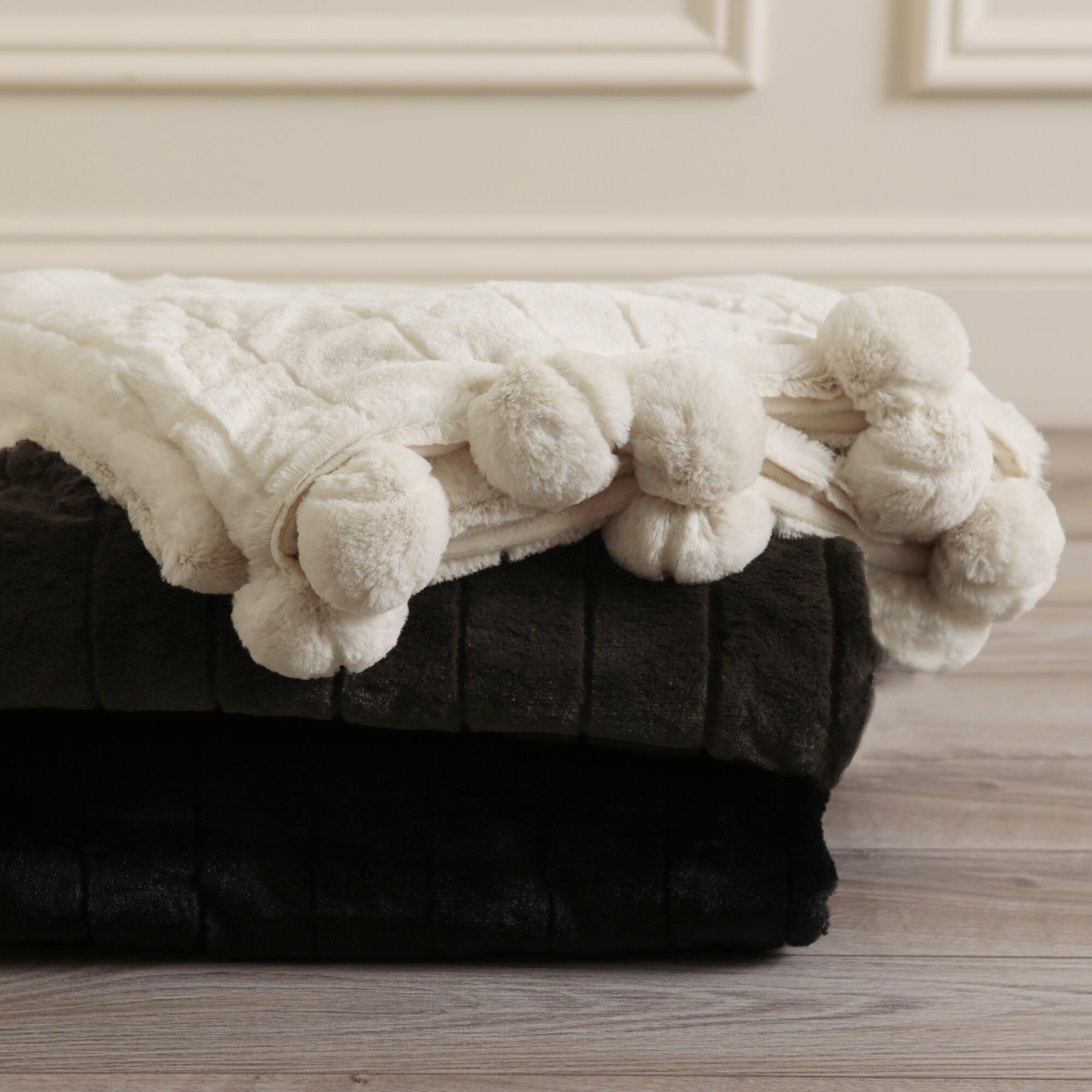 Best Home Fashion Inc Luxe Mink Faux Fur Pom Pom Throw