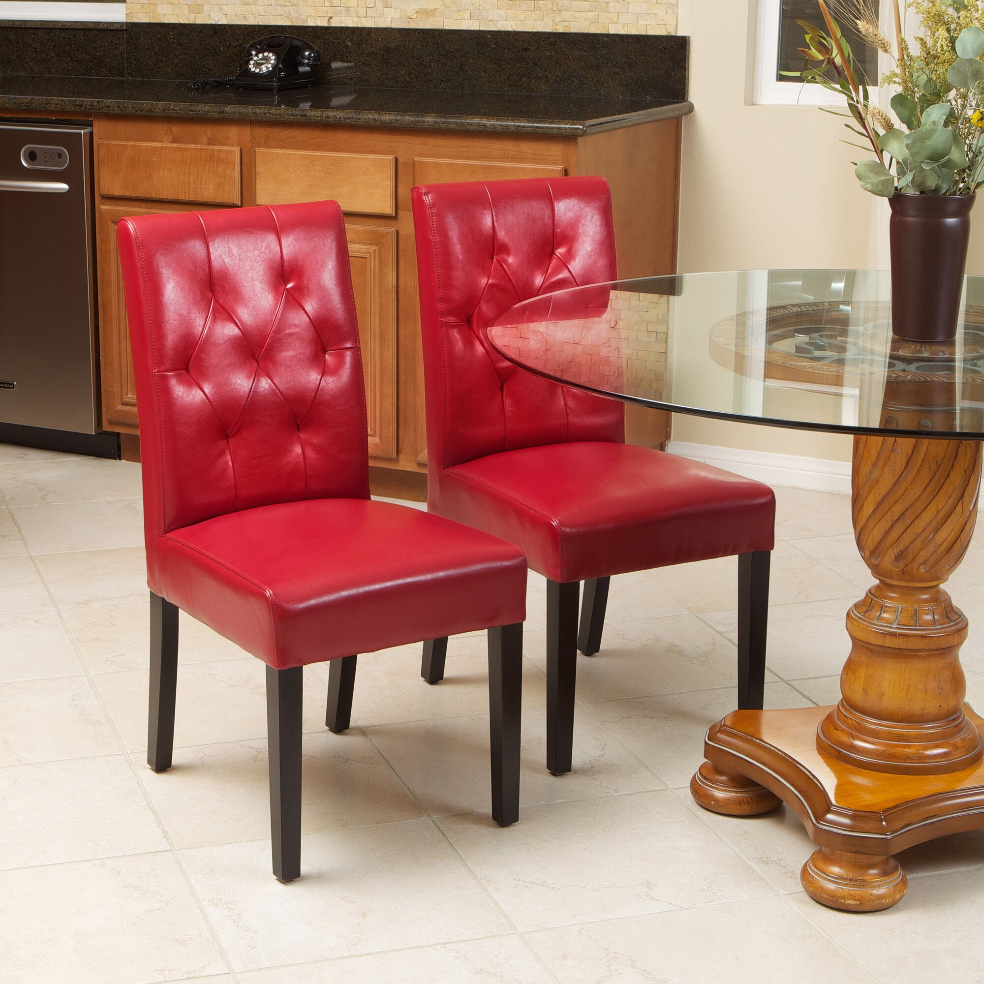 cherry bonded leather upholstered dining chair wayfair dining chairs