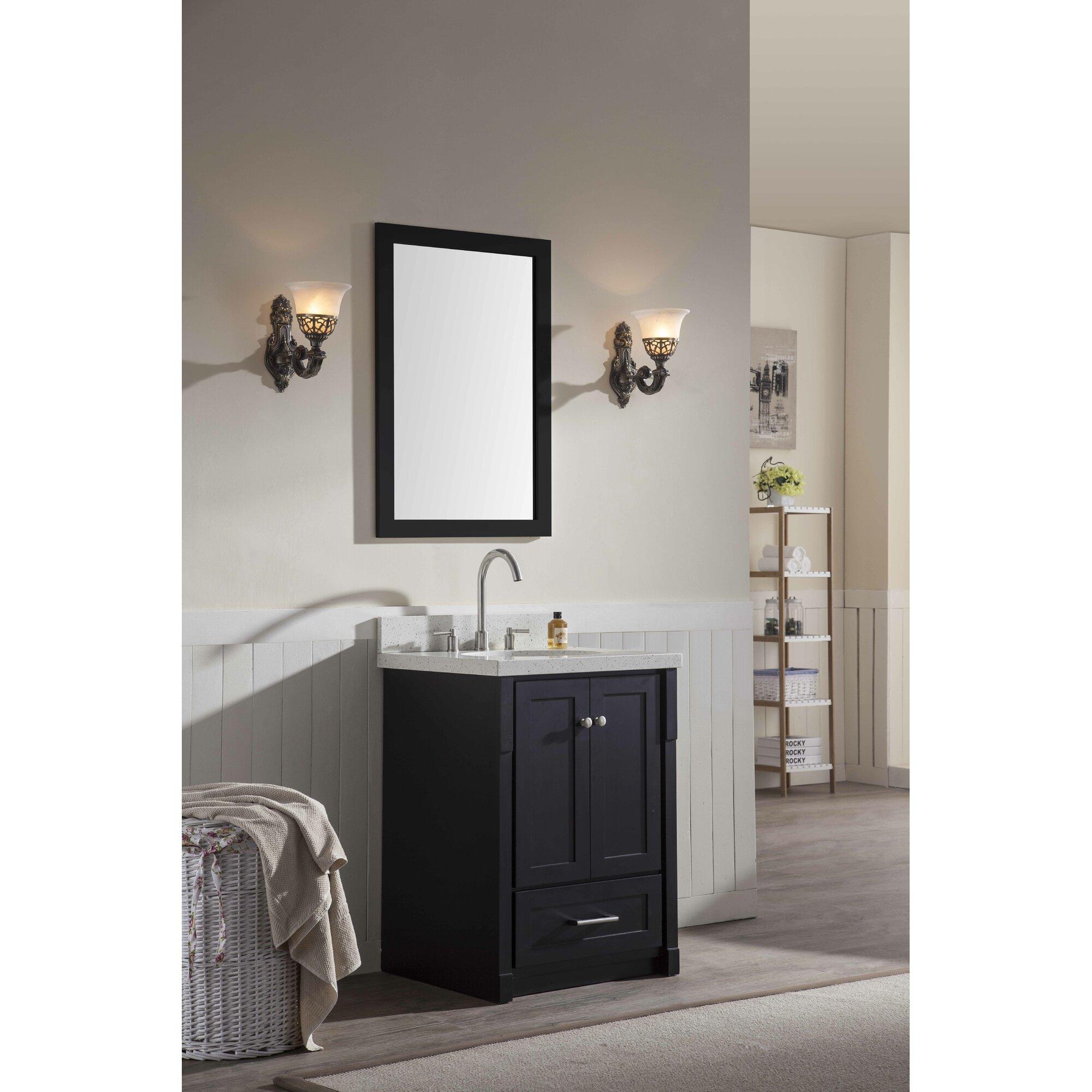 "Ariel Bath Adams 25"" Single Sink Vanity Set with Mirror & Reviews"