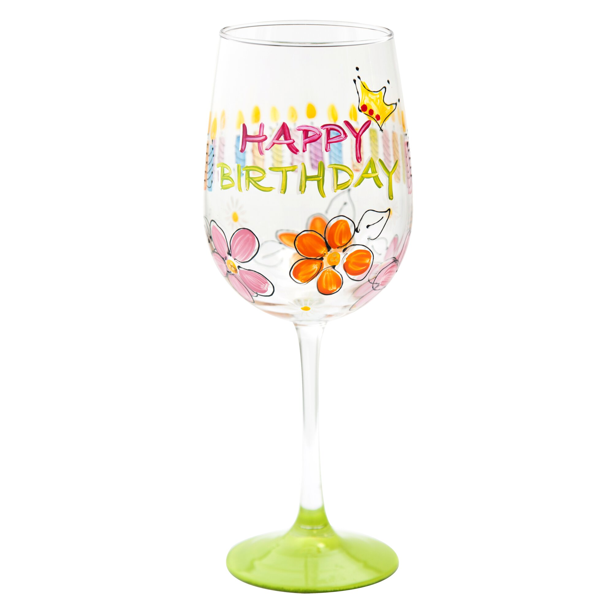 Pat Barker Designs Happy Birthday Wine Glass