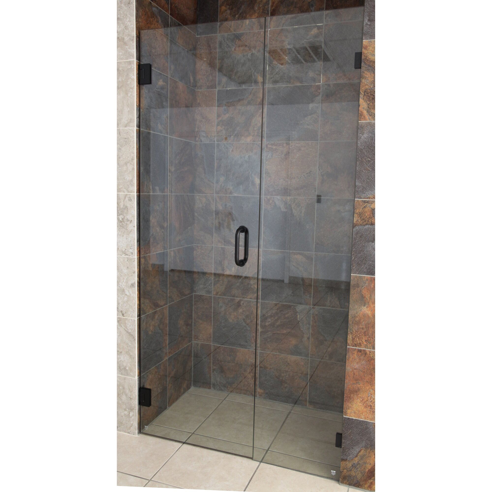 "Glass Warehouse 58.5"" X 78"" Hinged Frameless Shower Door"