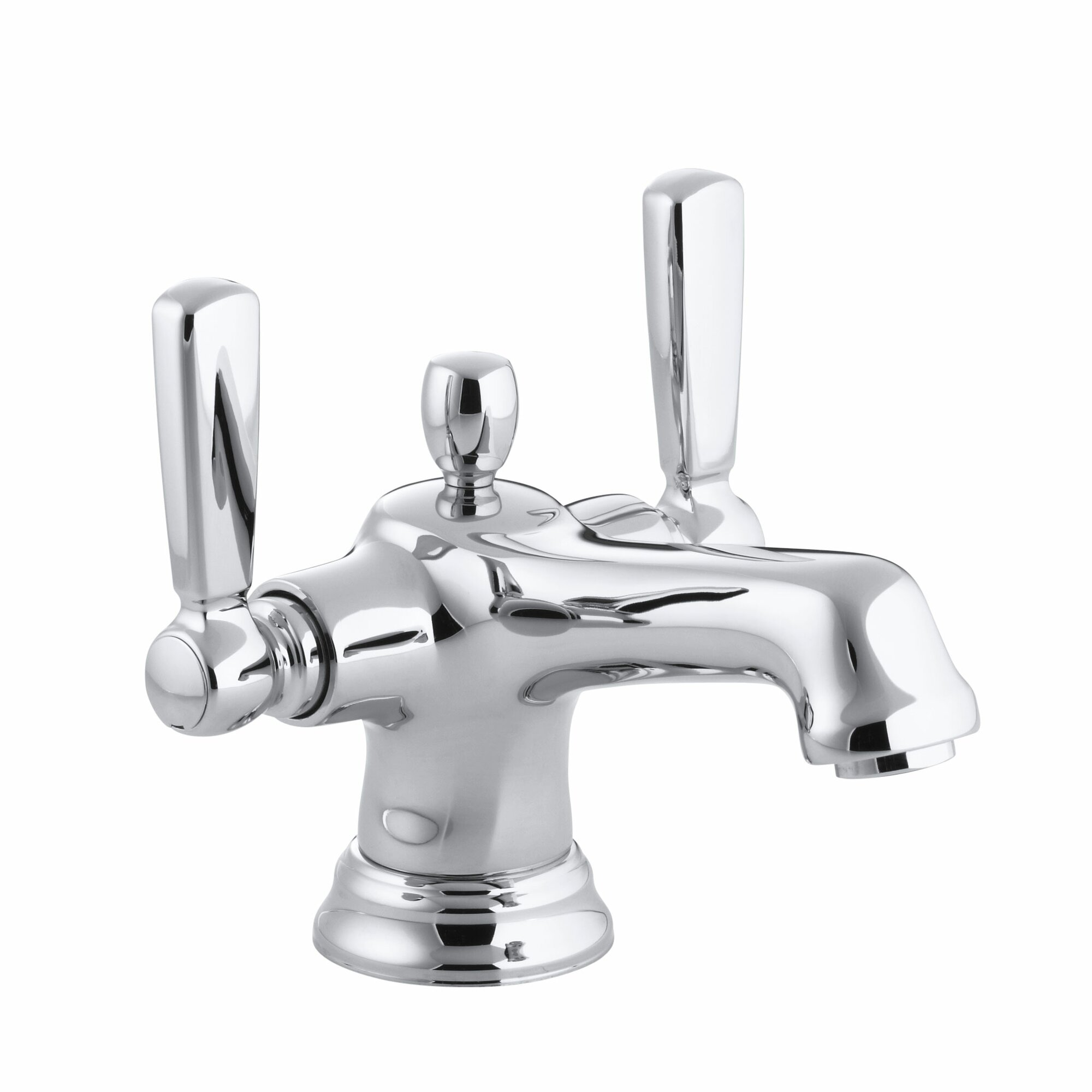 Bancroft Monoblock Single Hole Bathroom Sink Faucet With Escutcheon And Metal Lever Handles