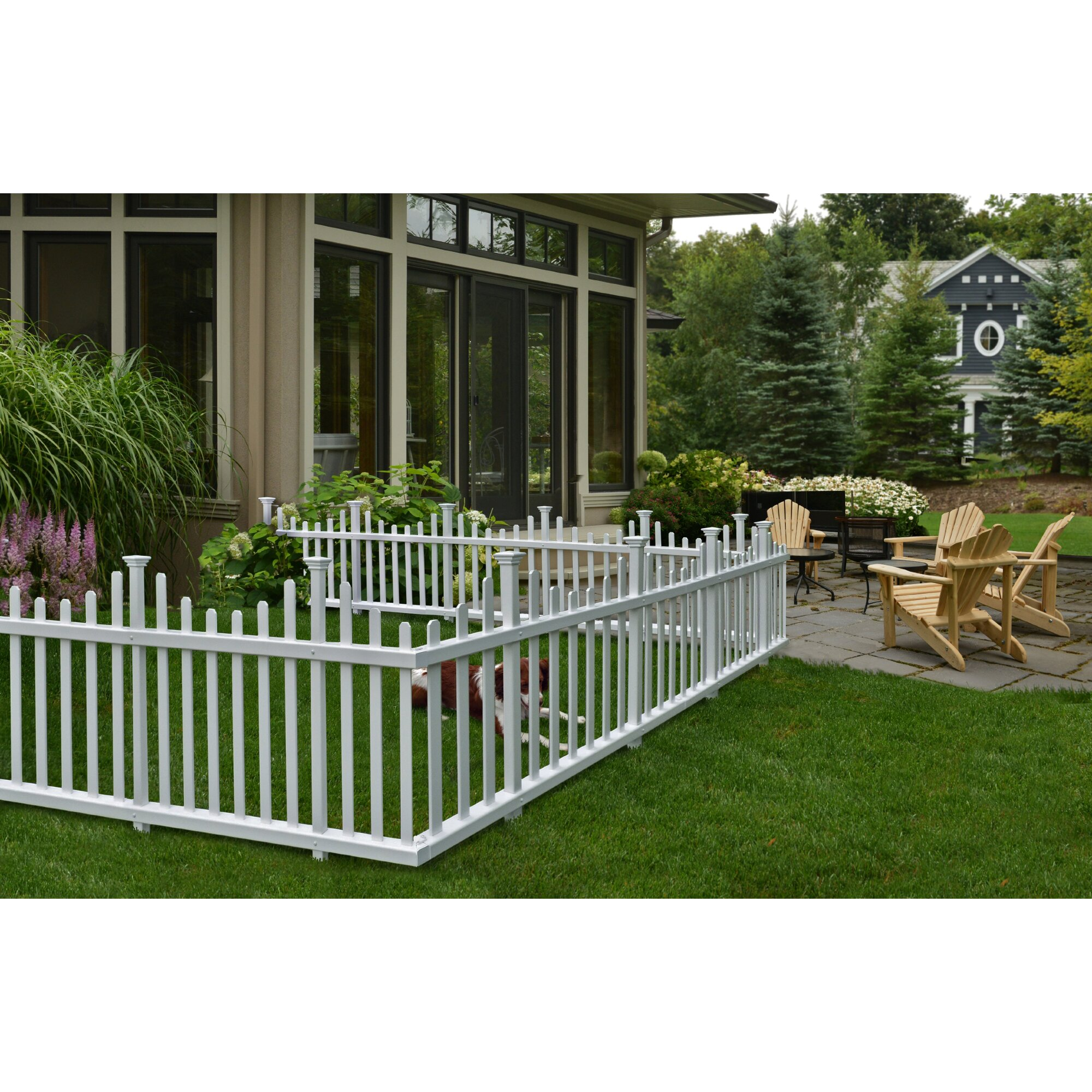Zippity outdoor products madison no dig vinyl picket garden fence reviews wayfair - Vinyl railing reviews ...