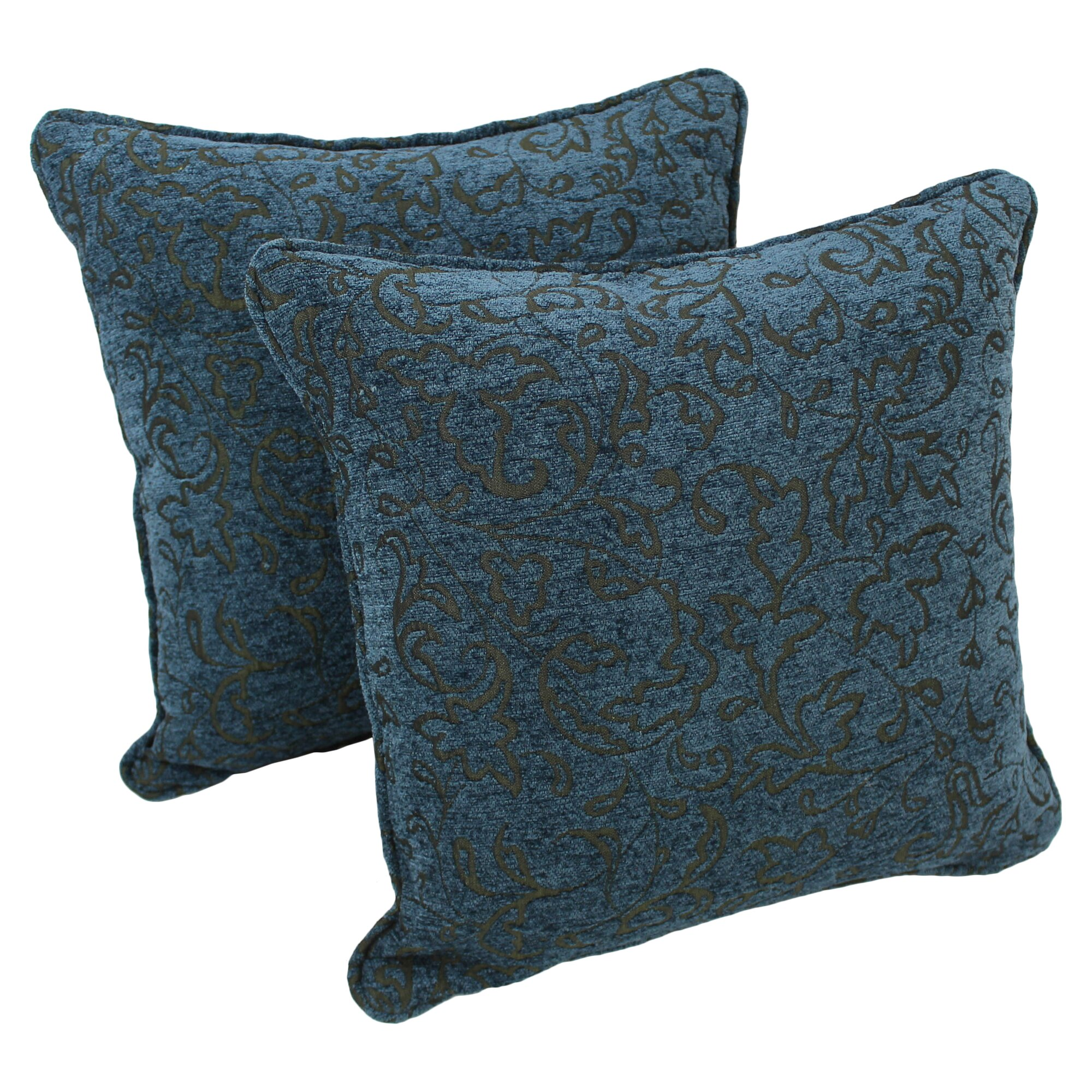 Blue Chenille Throw Pillows : Blazing Needles 18-inch Corded Blue Floral Jacquard Chenille Throw Pillow & Reviews Wayfair