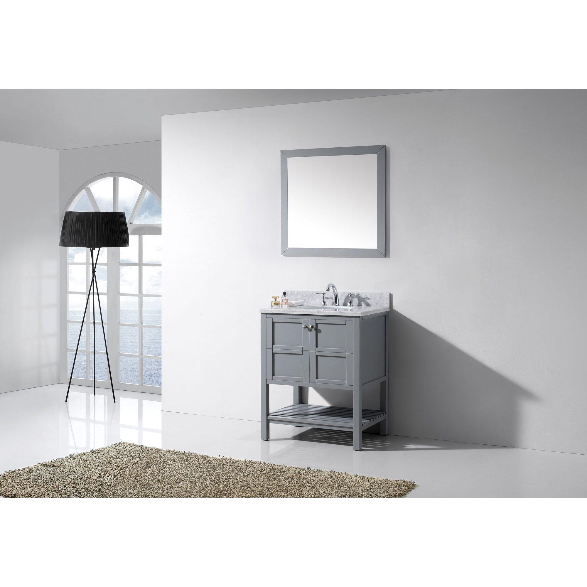 Virtu bathroom accessories - Winterfell 30 Single Bathroom Vanity Set With White Marble Top And Mirror