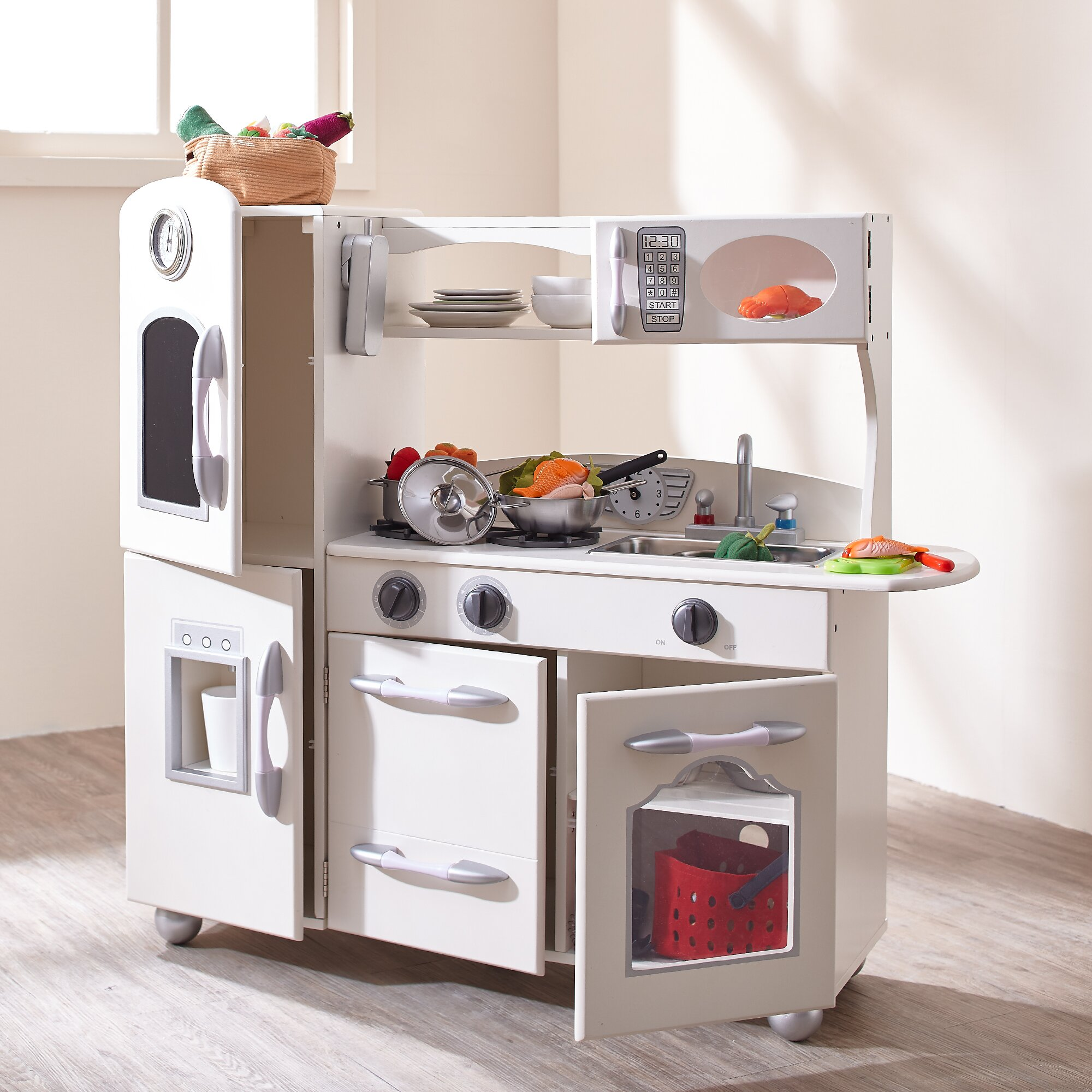 teamson kids wooden play kitchen set reviews wayfair. Black Bedroom Furniture Sets. Home Design Ideas