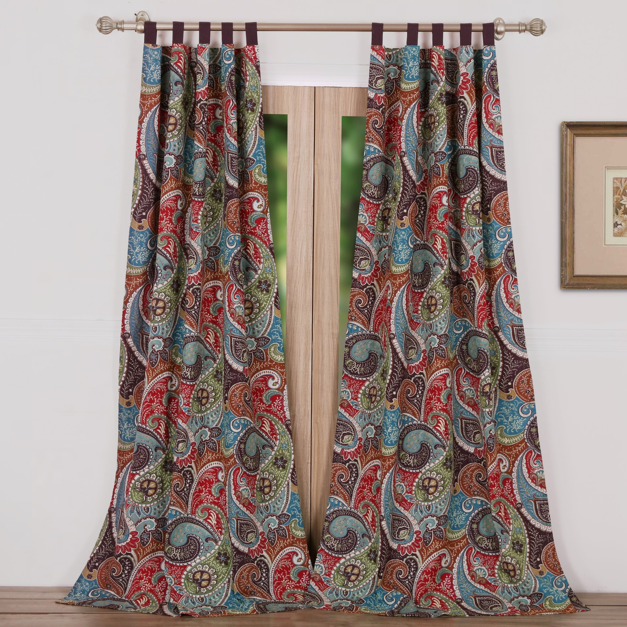 Greenland Home Fashions Tivoli Paisley Sheer Tab Top Curtain Panels Reviews