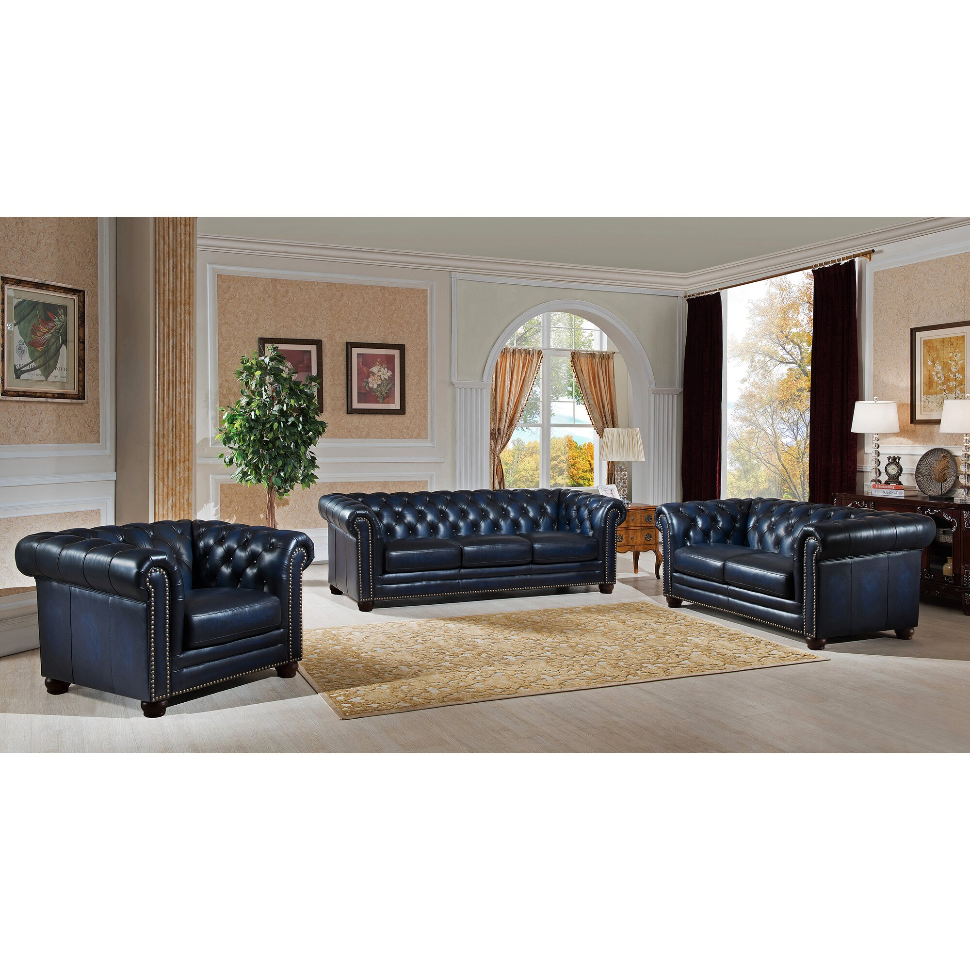 Amax Nebraska Leather Chesterfield Sofa & Reviews