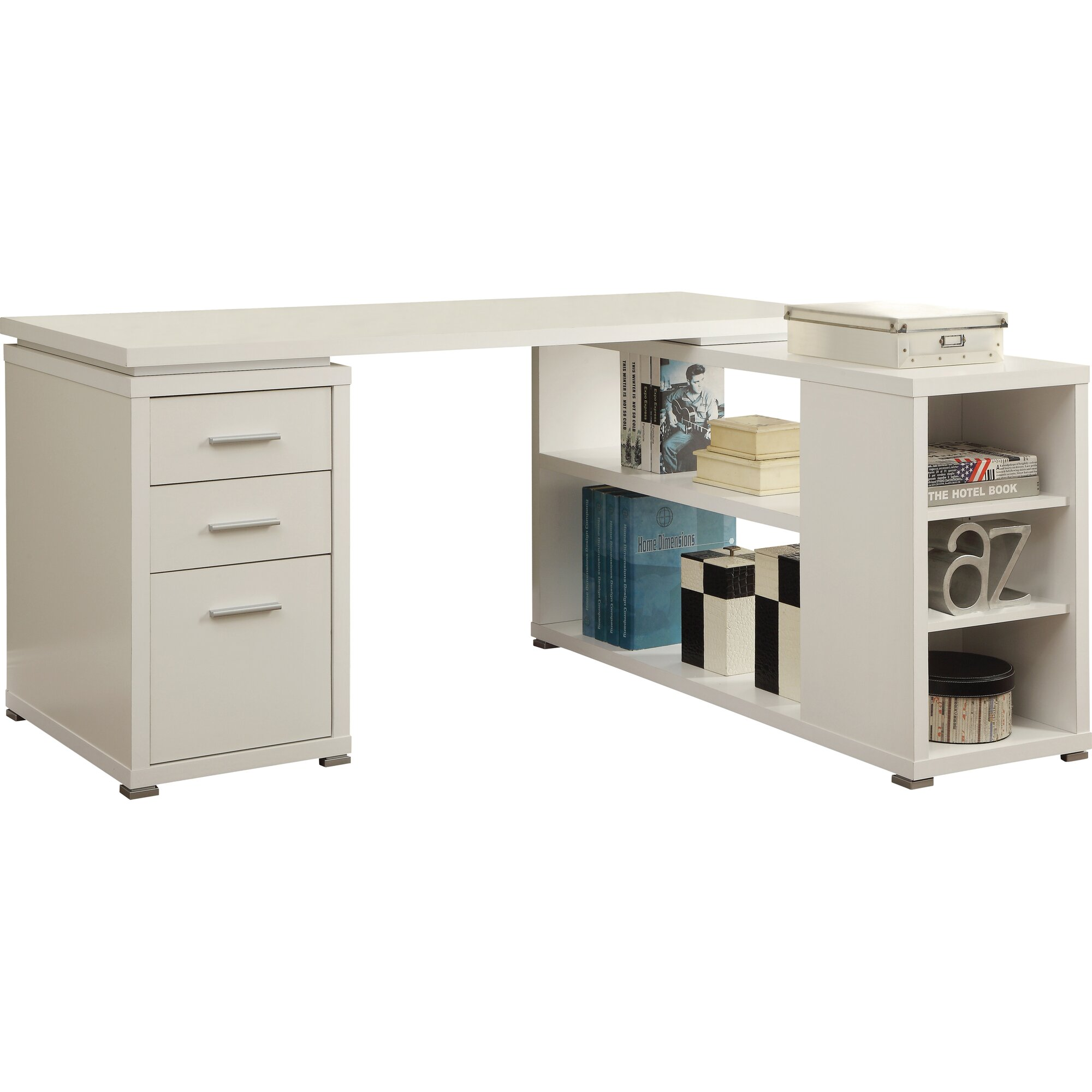 Mercury Row Senga Down 3 Drawer L Shape Computer Desk